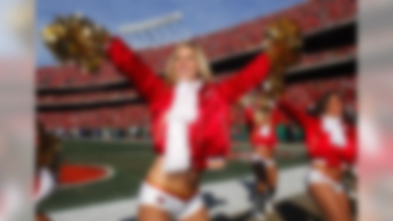 Nov 25, 2007; Kansas City, MO, USA; A Kansas City Chiefs cheerleader performs during the game against the Oakland Raiders at Arrowhead Stadium. Mandatory Credit: Kirby Lee/Image of Sport-US PRESSWIRE