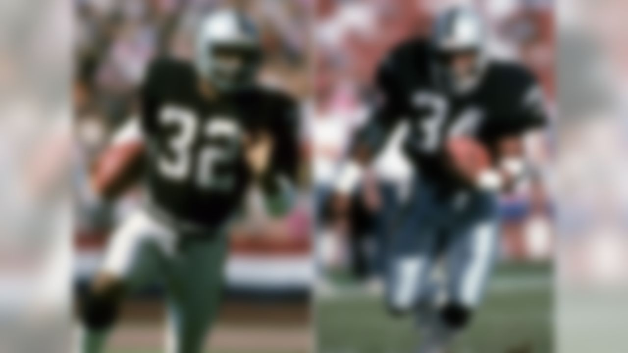 "For four years (1987-90), Marcus Allen and Bo Jackson were teammates on the Raiders. If Jackson hadn't suffered an unfortunate injury in the 1990 playoffs, this could have gone down as the greatest running back tandem in NFL  history. Instead, the duo is forever immortalized in the Nintendo classic ""Tecmo Super Bowl."""