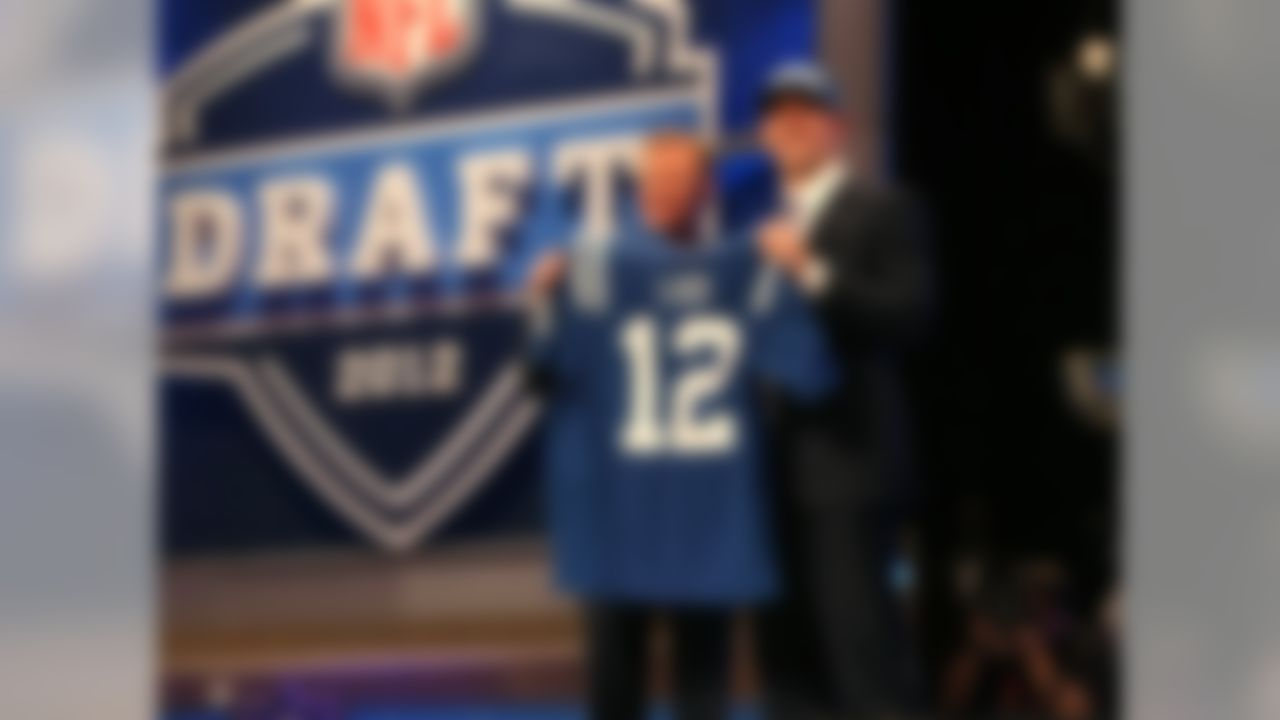 Andrew Luck (R) poses for a photo with NFL Commissioner Roger Goodell after being selected by the Indianapolis Colts during the 2012 NFL Draft at Radio CIty Music Hall on Thursday, April 26, 2012 in New York, NY. (AP Photo/Ben Liebenberg)