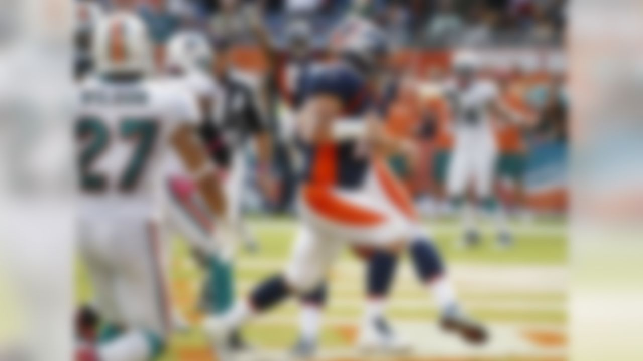 Under the direction of their new starting quarterback, the Broncos had a lackluster effort for three-plus quarters and were staring at a 15-0 deficit. But in the final five minutes of regulation, Tebow directed two touchdown drives and scored the tying two-point conversion to force overtime. Denver emerged victorious in the extra period, as kicker Matt Prater's 52-yard field goal beat the Dolphins.