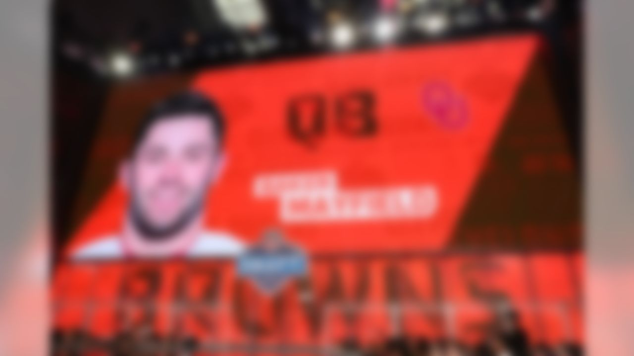 "With the first pick in the 2018 Draft, the Cleveland Browns draft, Baker Mayfield out of Oklahoma.    Baker Mayfield is the 6th QB the Browns have selected in the first round during the Common Draft Era. None of the previous 5 had a winning record with the Browns or made a Pro Bowl, per NFL Research.   Mayfield is the 7th quarterback to win the Heisman Trophy and be selected 1st overall in the Common Draft Era, per NFL Research.   Mayfield averaged 9.8 yards per. Highest yards/attempt of any FBS QB in the last 15 seasons (min. 850 pass attempts), per NFL Research.   Only 2 quarterbacks in the Common Draft Era have been selected #1 overall despite measuring in under 6-foot-3: Michael Vick (6'0"") and Baker Mayfield (6'1""), per NFL Research."