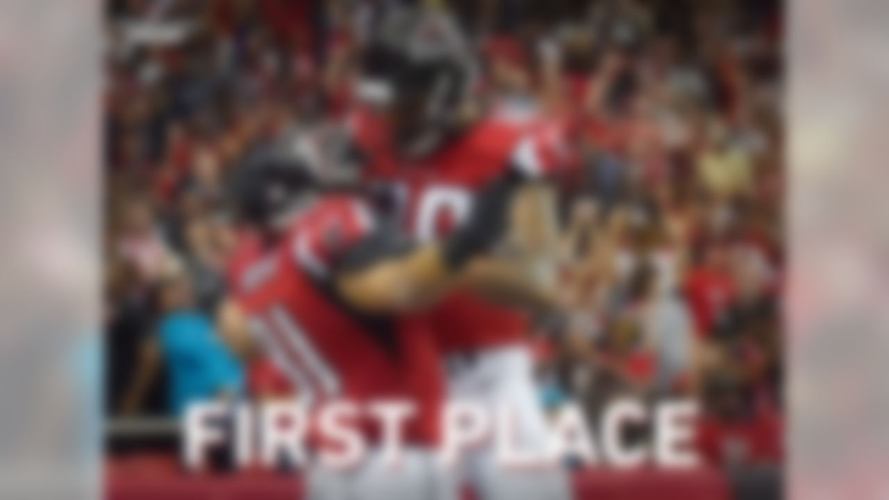 With their victory over the Panthers, the Falcons are now first place in the NFC South.  Atlanta has not won the NFC South since 2012.