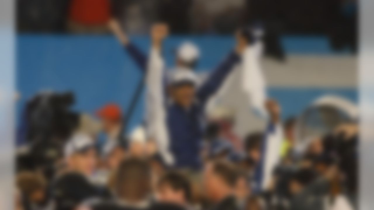 Head coach Tony Dungy of the Indianapolis Colts is held-up on the shoulders of his assistant coaches as he celebrates a 29-17 win over the Chicago Bears in Super Bowl XLI on February 4, 2007 at Dolphin Stadium in Miami Gardens, Florida. (AP Photo/DavidDrapkin)