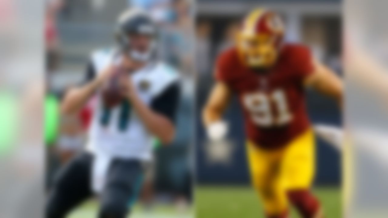 Jaguars receive: 2011 first-rounder (No. 10: QB Blaine Gabbert) Redskins receive: 2011 first-rounder (No. 16: DE Ryan Kerrigan), 2011 second-rounder (No. 49: Traded to Colts)  The pre-draft hype machine moved Gabbert into first-round consideration, and when it was all said and done, the Missouri product was a top-10 draft pick. The Jaguars thought they had their franchise quarterback of the future. Instead, Gabbert never developed into a viable starting quarterback and was dealt to the 49ers three years after being drafted. Kerrigan, meanwhile, is a defensive force for the Redskins, posting a career-high 13.5 sacks in 2014.