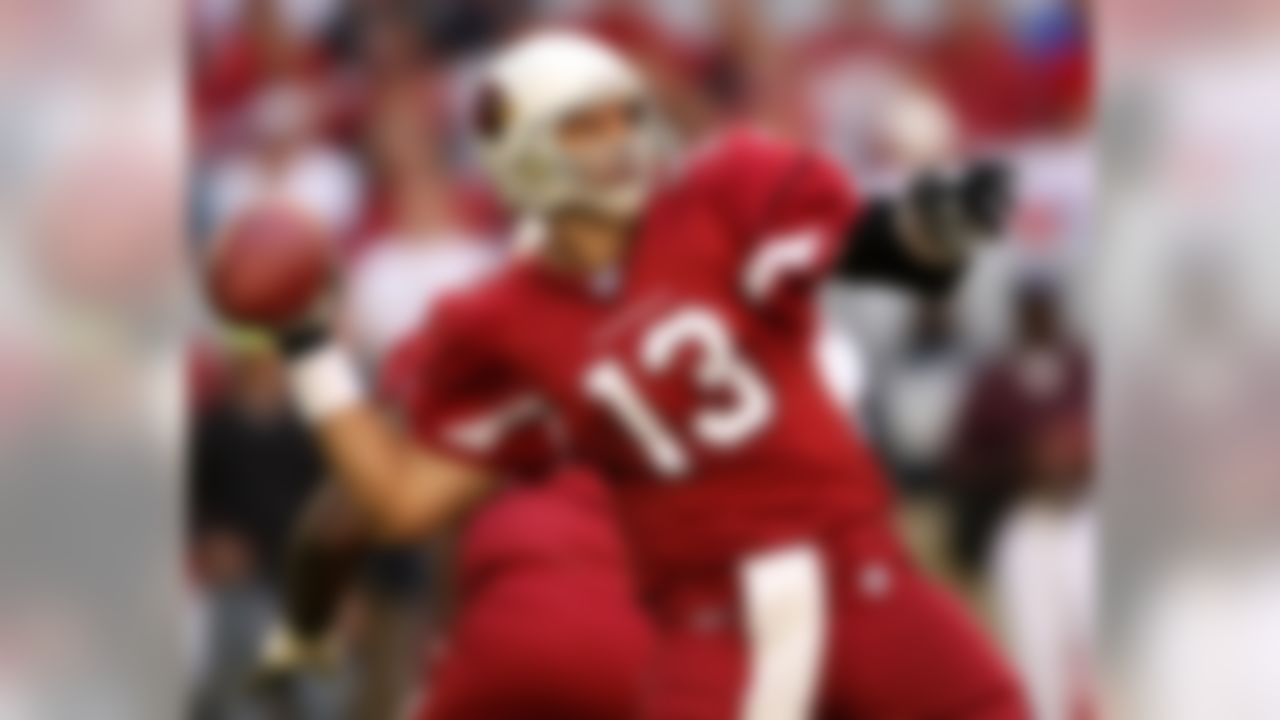 Arizona Cardinals quarterback Kurt Warner (13) threw for 484 yards and two touchdowns against the San Francisco 49ers at University of Phoenix Stadium. Mandatory Credit: Mark J. Rebilas-US PRESSWIRE