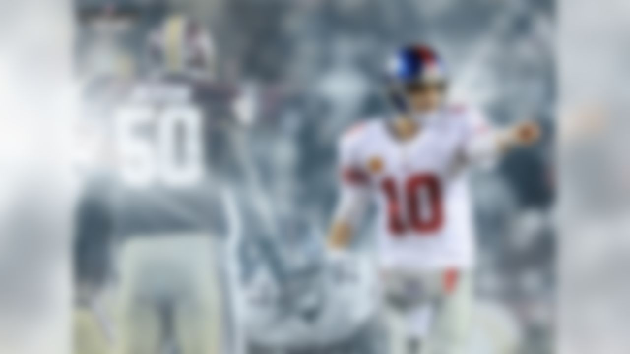 Eli Manning is tied with five other QBs for the most INT (4) in the 2014 season, and his trend vs. Washington suggests things could get worse. In his career vs. Washington, Eli has more INTs (17) than TDs (16). He has thrown 0 TDs in five different games vs Redskins and has 1 or fewer pass TD in 18 of his 19 career starts vs. Washington. The good news for Giants fans: Eli is 13-6 in those 19 games vs. the Redskins.