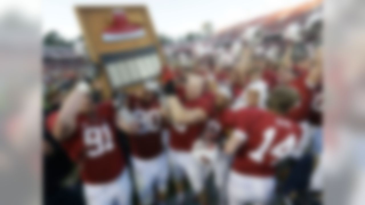 The teams: California and Stanford The skinny: Cool back story: The axe reportedly made its first appearance in April 1899, during a rally at Stanford when it was used to decapitate a straw man wearing Cal's colors. The trophy has been around since 1933 and actually is an axe head mounted on a plaque, which has the series scores.