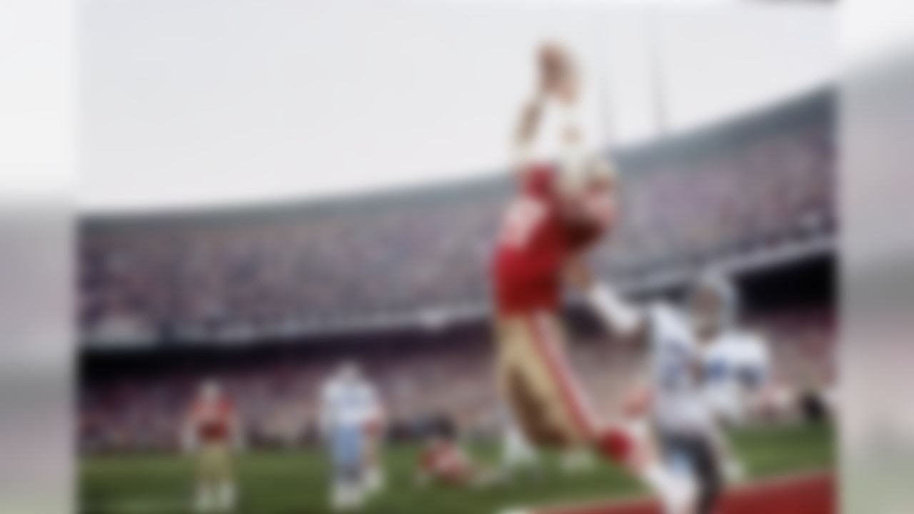 """San Francisco 49ers Dwight Clark (87) in action, making """"The Catch"""" and scoring the game winning touchdown vs the Dallas Cowboys Everson Walls (24) during the NFC Championship game at Candlestick Park in San Fransisco on January 10, 1982. (Walter Iooss Jr./Sports Illustrated/Getty Images)"""