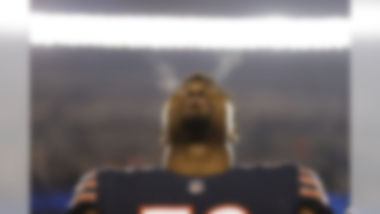 Bears linebacker Khalil Mack (52) stands on the sidelines prior to the start of Chicago's game against the Los Angeles Rams.