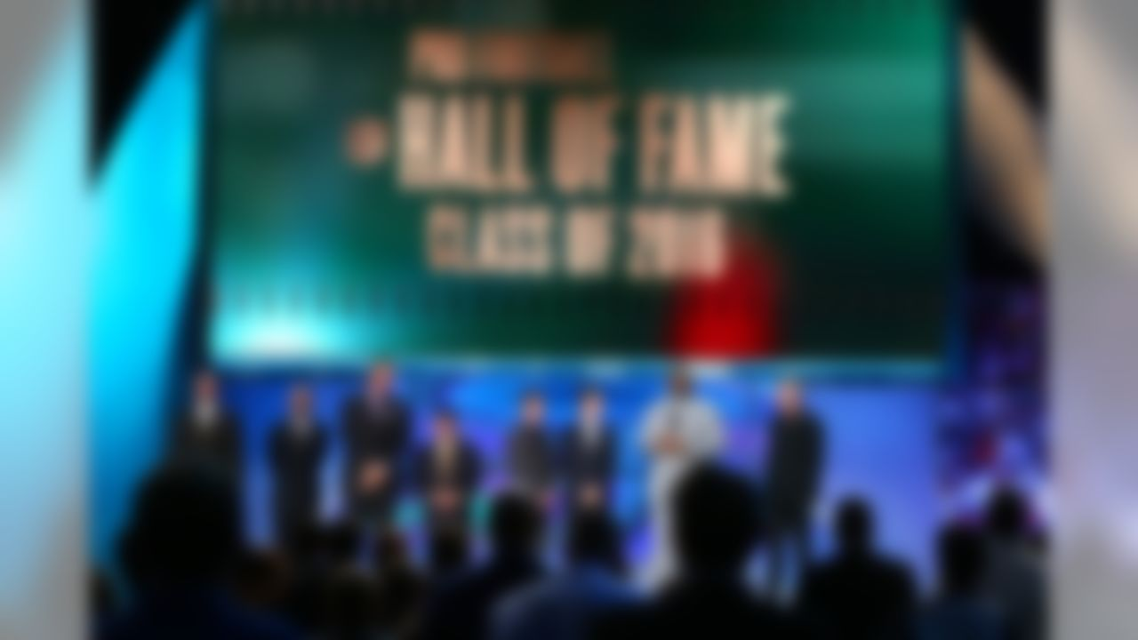 The 2016 Pro Football Hall of Fame Class of 2016 Inductees Kevin Green, Tony Dungy, Scott Stanfel for Dick Stanfel, Eddie DeBartolo Jr., grandsons Justin and Jack Stabler of Ken Stabler, Orlando Pace, and Brett Favre during the NFL Honors awards show at the Bill Graham Civic Auditorium on Saturday, Feb. 6, 2016 in San Francisco. Inductee Marvin Harrison was not in attendance. (Steve Sanders/NFL)