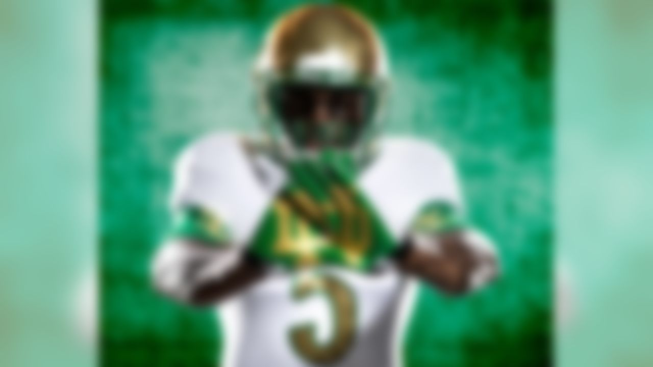Notre Dame shows off the uniform that they will wear against Arizona State on October 5th. (Adidas)