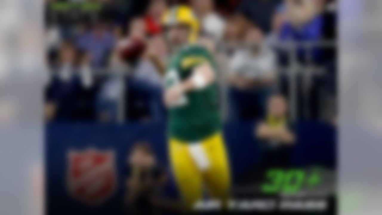 Over the last two seasons, Aaron Rodgers has executed some of the most memorable and clutch performances in recent memory. Since 2015, Rodgers has attempted a 30+ air yard pass in five games in which the score was either tied or the Packers were within 1 score. In four of those games, Rodgers completed his 30+ air yard attempts, including one on a Hail Mary to win the game, two to set up game-winning field goals (including last weekend's completion to TE Jared Cook) and another on a Hail Mary to send the game into overtime.