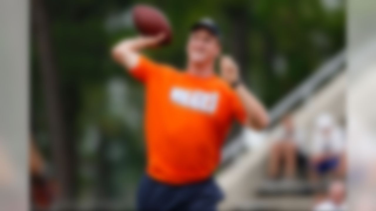 Denver Broncos quarterback Peyton Manning throws the ball to a receiver during the Manning Passing Academy at Nicholls State University on Saturday July 13, 2013 in Thibodaux, Louisiana. (Aaron M. Sprecher/NFL)