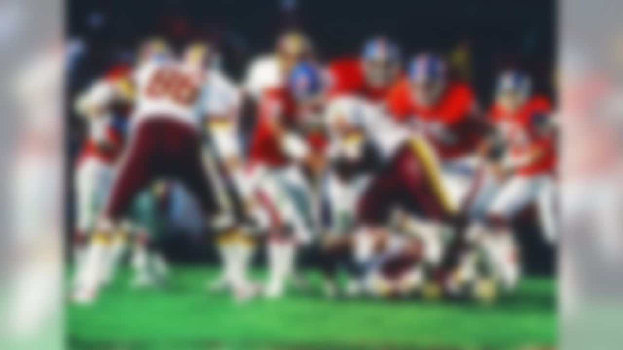 Washington Redskins running back Timmy Smith (36) runs into the during Super Bowl XXII between the Washington Redskins and the Denver Broncos on January 31, 1988 in San Diego, CA. (AP Photo/Paul Spinelli)