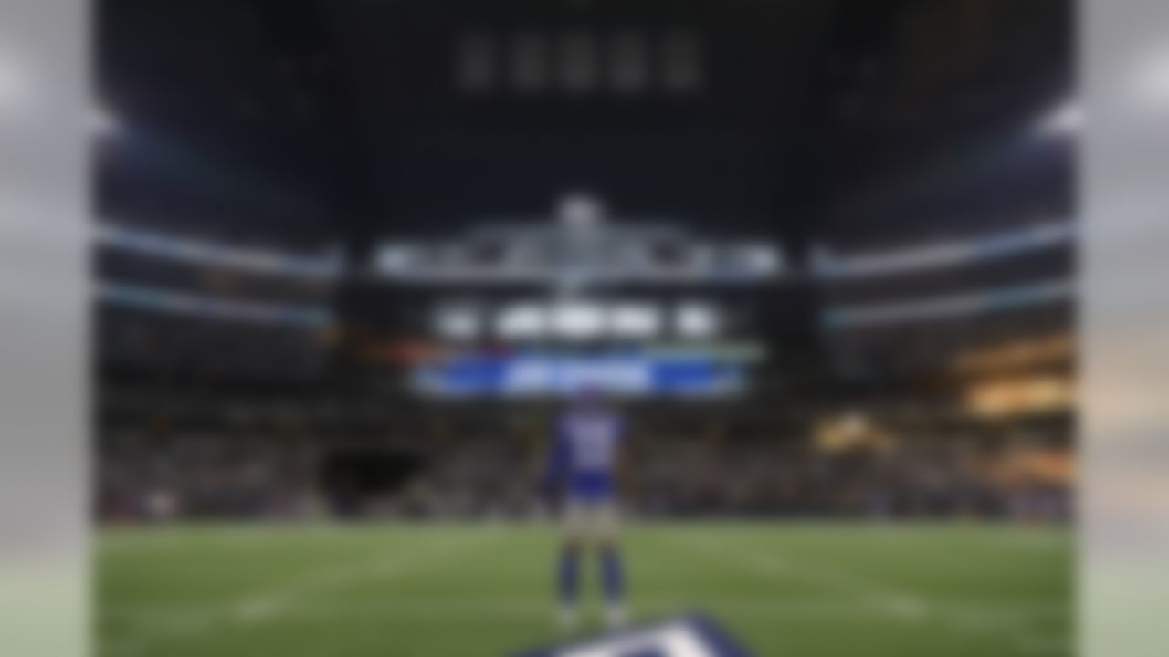 New York Giants wide receiver Odell Beckham Jr. (13) stands in the middle of AT&T Stadium in Arlington, Texas prior to kickoff in a Week 2 matchup against the Dallas Cowboys.