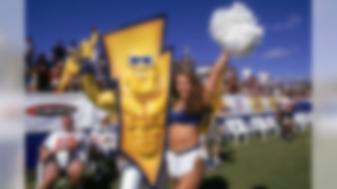 A San Diego cheerleader poses with charger mascot during the 1998 Pro Bowl in Honolulu, Hawaii. (AP Photo/David Stluka)
