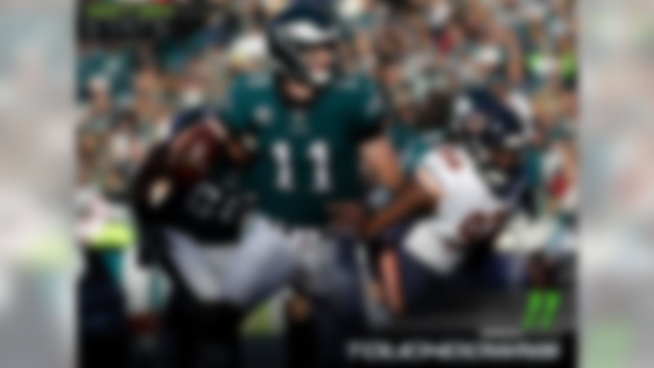 Philadelphia Eagles quarterback Carson Wentz continued to dominate against the blitz this week, throwing another touchdown against the Bears blitz, and extending his lead in the category. So far this season, Wentz has 11 touchdowns against the blitz.
