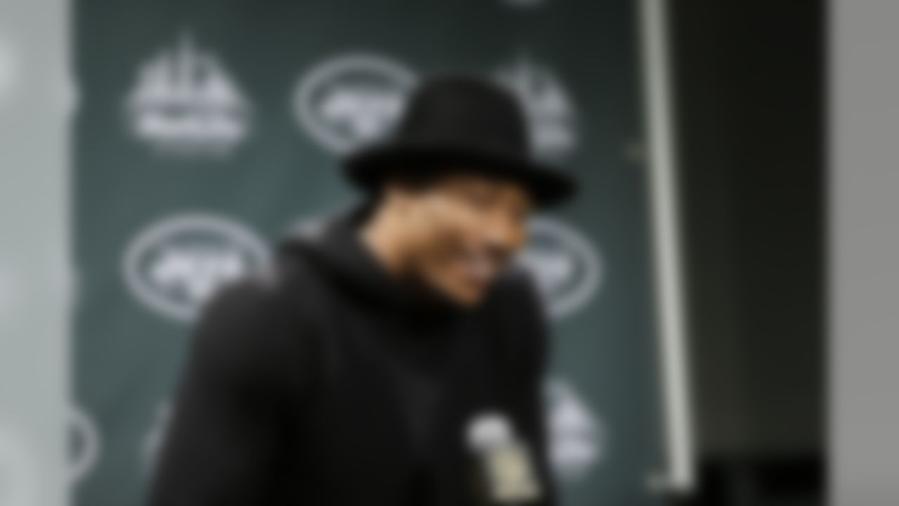 New York Jets wide receiver Brandon Marshall responds to questions during a news conference after an NFL football game against the New England Patriots Sunday, Dec. 27, 2015, in East Rutherford, N.J. The Jets won 26-20. (AP Photo/Seth Wenig)