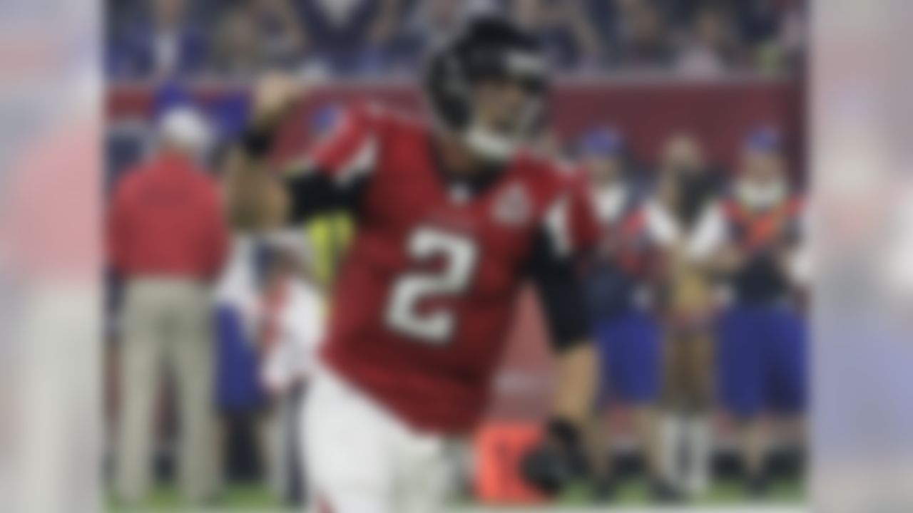 Atlanta Falcons' Matt Ryan celebrates after a touchdown during the second half of the NFL Super Bowl 51 football game against the New England Patriots Sunday, Feb. 5, 2017, in Houston. (AP Photo/Eric Gay)