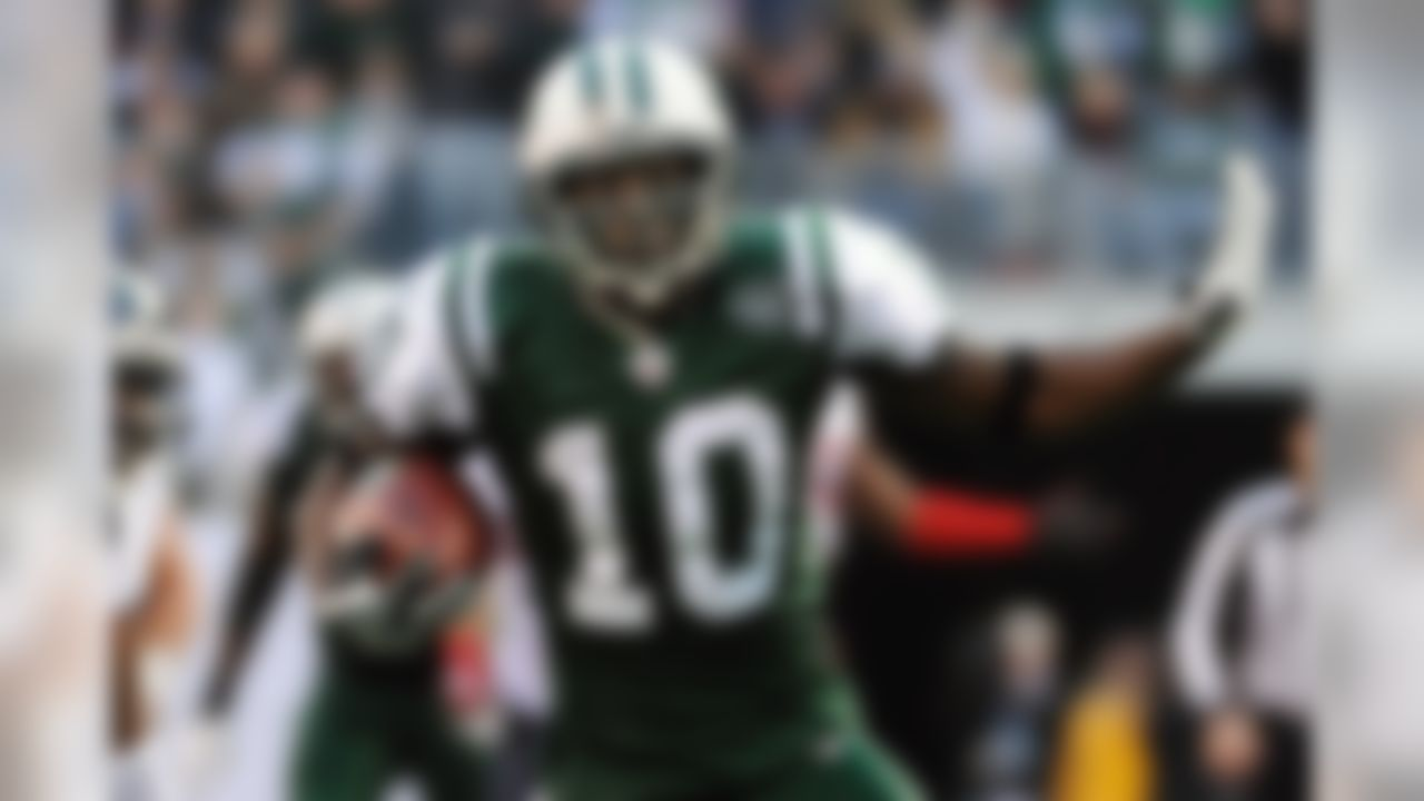 The Super Bowl XLIII hero is an explosive player with route-running skills and good hands. Holmes had 52 receptions in 12 games last year for the Jets, and 79 catches for 1,248 yards in Pittsburgh in 2009.