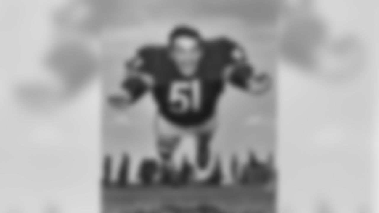 Chicago Bears Hall of Fame linebacker Dick Butkus (51) poses for a photo during training camp at St. Joseph's College in the 1960s. (Pro Football Hall of Fame)