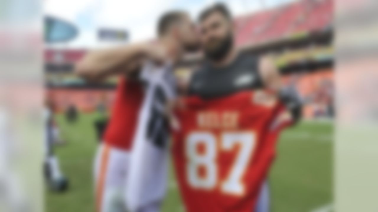 Travis Kelce has played since 2013 with the Kansas City Chiefs. His older brother Jason has played with the Philadelphia Eagles since 2011.