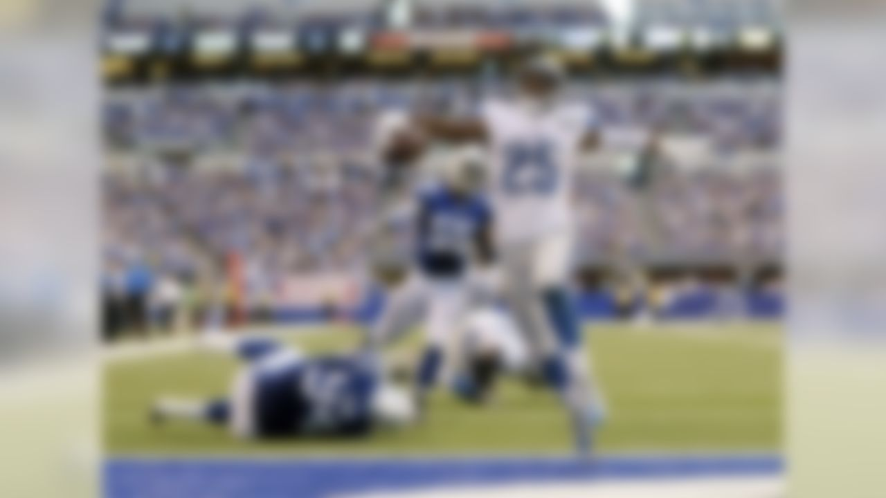 Detroit Lions running back Theo Riddick (25) celebrates as he runs in for a touchdown against the Indianapolis Colts during the first half of an NFL football game in Indianapolis, Sunday, Sept. 11, 2016. (AP Photo/Jeff Roberson)