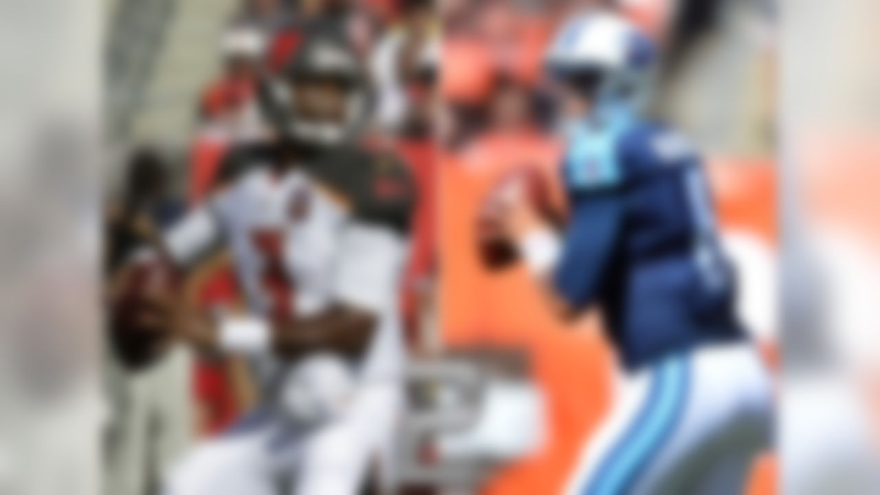 QBs: Marcus Mariota, Titans; Jameis Winston, Buccaneers  Mariota and Winston are two weeks into their respective NFL careers and each has already collected his first win as a starter. Mariota's dazzling debut included a perfect passer rating (first time that's happened since 1960), and four touchdown passes (second time that's happened since 1960; Fran Tarkenton, 1961). Winston, it should be noted, became the second active QB to record his first career NFL win in a head-to-head start against a quarterback with at least 100 starts in the NFL (Drew Brees). The other? Matt Cassel, who beat the Brett Favre-led Jets while with the Patriots in 2008.