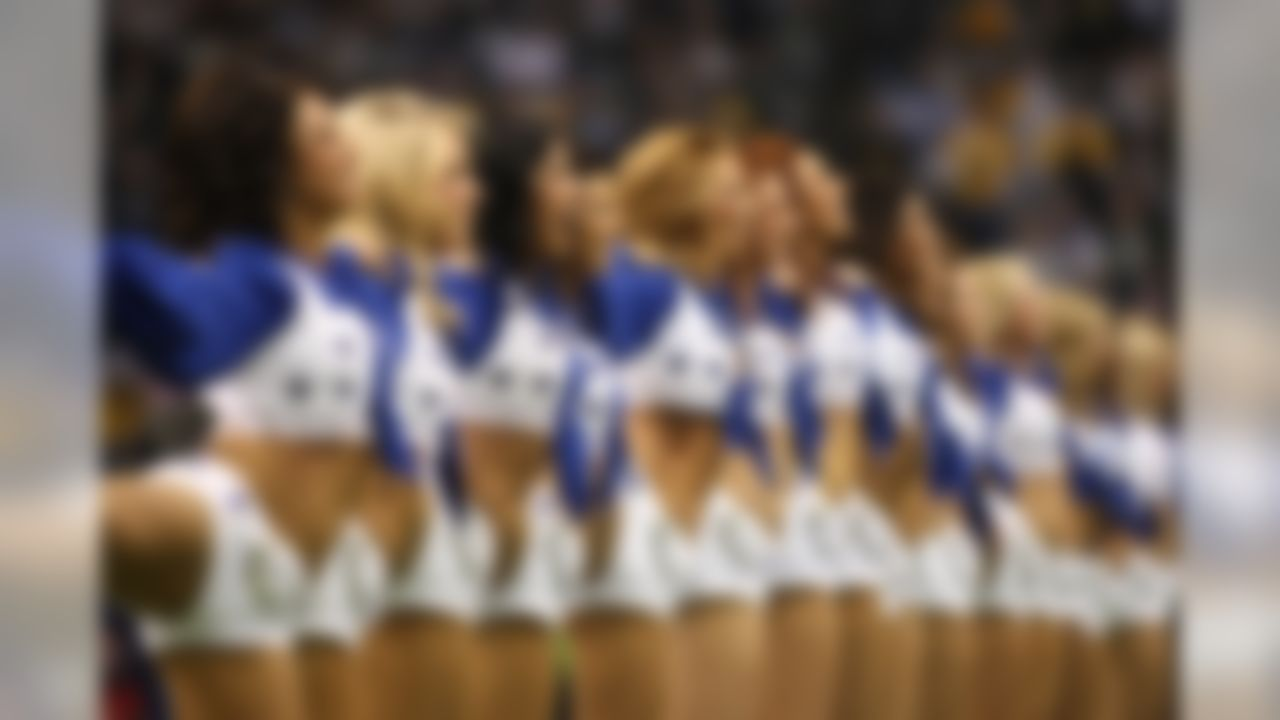 Dallas Cowboys Cheerleaders line up in formation before the Cowboys take on the Packers at Texas stadium in Irving, TX on November 29, 2007. Photo by Jeff Lewis / Sharp Shot.