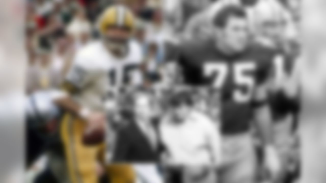 Starr and Gregg joined the Packers as rookies in 1956 and played together until 1970 when the offensive lineman retired in 1970 (Starr retired after the following season). The duo went on to win five championships with the Packers, including the first two Super Bowls, for which Starr was selected as the game's most valuable player in both contests. The two even became head coaches for the Packers, with Gregg replacing Starr after the 1983 season. Both were enshrined into the Pro Football Hall of Fame in 1977.