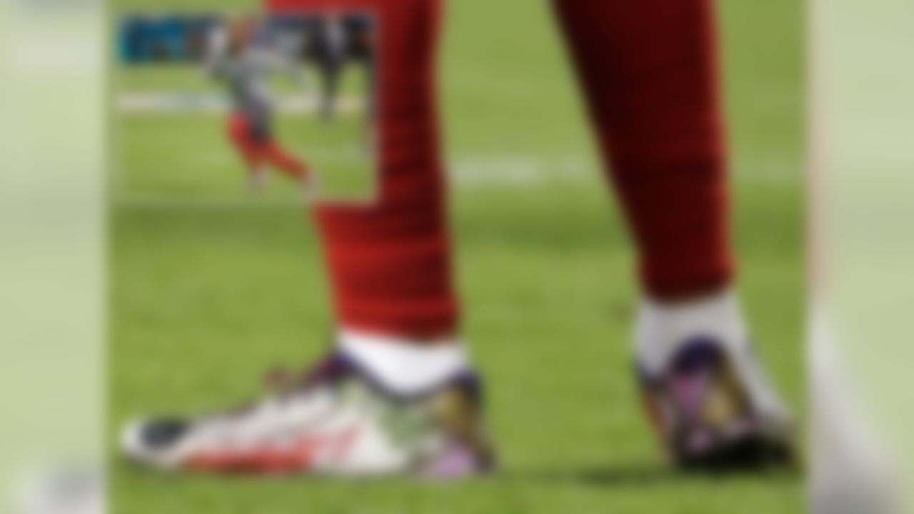 """I have looked at hundreds of photos and seen dozens of cleats this season and these, without a doubt, are the coolest cleats I have ever seen. Look at the Joker-themed details. The """"HAHA"""" written on the inside portion of the toe, the white and red lipstick the runs along the outside of the foot, and the eyes on the top of the toes all make these cleats incredible. I am in awe of these cleats and stunned by Beckham's ability to elevate the custom cleat game each week."""