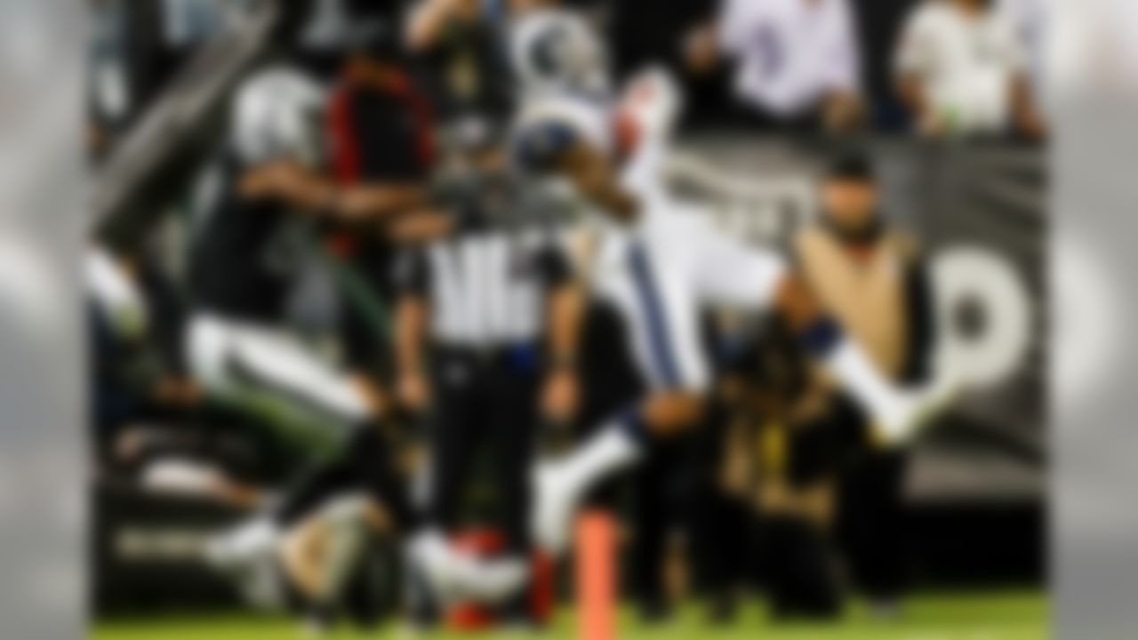 The Los Angeles Rams upset Jon Gruden's return to the sideline of the Oakland Raiders. The Rams offense continued to look sharp under second-year coach Sean McVay.  Running back Todd Gurley finished with 108 yards on 20 carries and 39 yards with a reception touchdown. Gurley's 12 games with at least 100 rushing yards since 2015 were third-most in the NFL during that span.  Quarterback Jared Goff finished 18/33 with 233 pass yards, 2 TD, 0 INT and a 97.2 passer rating. The game's final score was Marcus Peters' pick-six. Peters has three INT return touchdowns since 2015 (T-second-most in NFL). His teammate Aqib Talib has the most during that span (4).