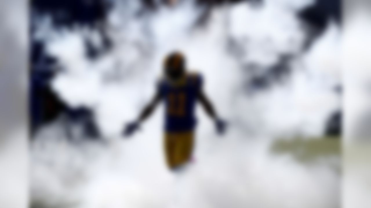 Los Angeles Rams wide receiver Tavon Austin runs onto the field for the first half of an NFL football game against the Seattle Seahawks Sunday, Oct. 8, 2017, in Los Angeles.
