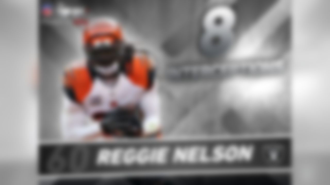 Last season, Reggie Nelson tied for the NFL lead in interceptions (8). When he left the Bengals to sign with Raiders he joined Ty Law as the only players in the Super Bowl era to lead the NFL in interceptions and then sign with a different team as a free agent in the ensuing offseason. Law led the league with 10 INT in 2005 with the Jets, then signed with the Chiefs in 2006.   If Nelson leads the NFL in interceptions again, he would become the 4th player since 1940 to lead the league in interceptions then play for a different team the next season. The others were Law, Billy Atkins (1961-62) and Bill Dudley (1946-947).