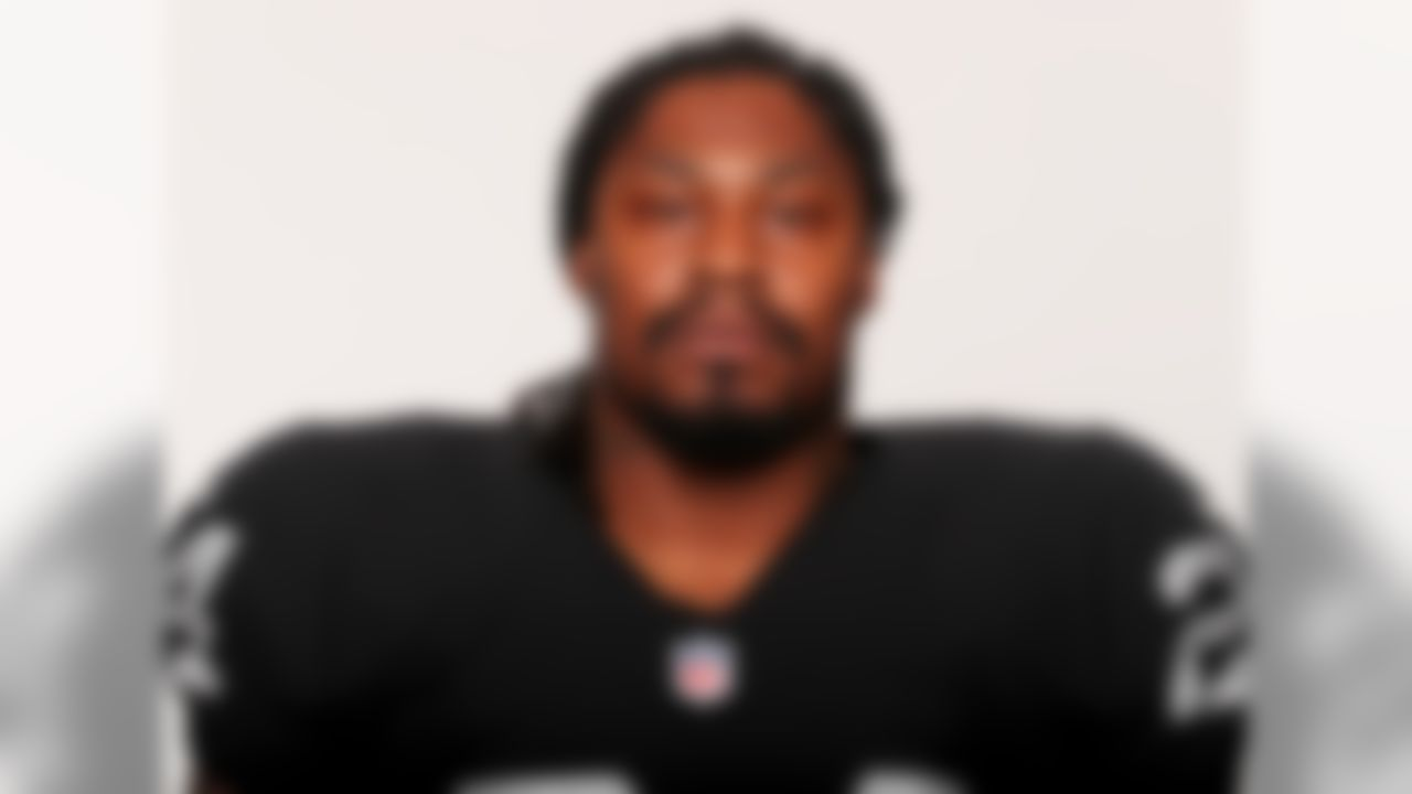 """Ben Liebenberg, senior photo editor of NFL Media, found the Raiders headshots in his inbox with the following note: """"Was just informed that Marshawn Lynch posed with pads on. He apparently refused to take them off for the photographer."""" Remember, this is the same Lynch that left the Raiders facility with his helmet on after signing with the team. It's conceivable the man may have driven home with a helmet on. Keeping pads on is nothing."""