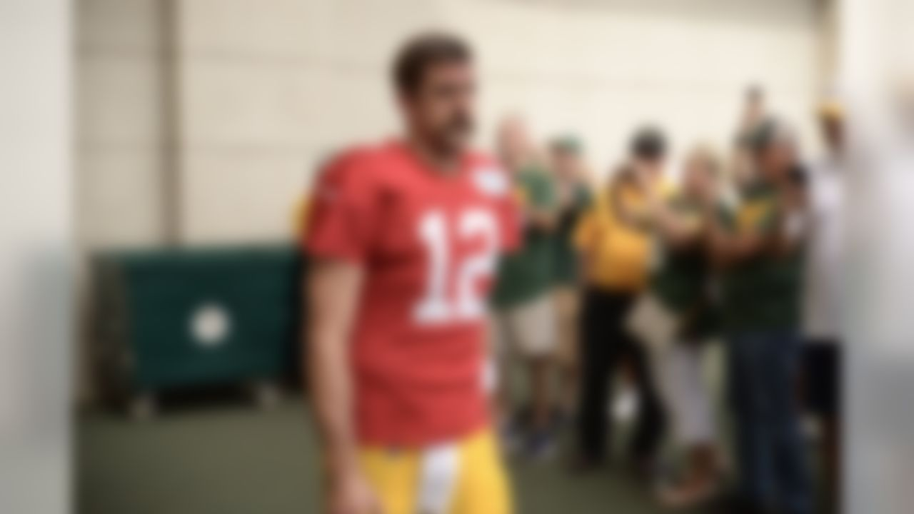 Aaron Rodgers arrives to practice on Tuesday, Aug. 29, 2017.