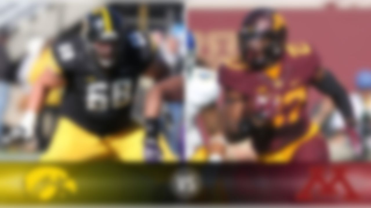 Details: Saturday, 12 p.m. ET, ESPN2 The skinny: These are two of the four teams in the hunt for the Big Ten West Division title. Keep an eye on Minnesota TB David Cobb (above), who is sixth nationally (and third in the Big Ten) in rushing at 141.4 yards per game. He has to at least get close to his average if the Golden Gophers are going to win; if Minnesota must pass to win, it has zero chance. Iowa OT Brandon Scherff (above) might be the best lineman in the nation, and he and his linemates need to carve out some holes because Iowa is another team that doesn't want to be forced to throw. Still, the Hawkeyes are far better-equipped to pass than the Gophers. Also at stake: Floyd of Rosedale. Game picks: Brandt: Iowa, 28-21  Brooks: Minnesota, 23-20 Jeremiah: Minnesota, 24-21 Fischer: Iowa, 28-24 Goodbread: Iowa, 24-10 Huguenin: Iowa, 24-23