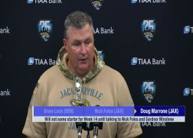 Jacksonville Jaguars head coach Doug Marrone explains quarterback switch from Nick Foles to rookie QB Gardner Minshew vs. the Ta