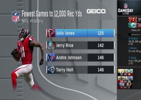 Julio Jones passes Jerry Rice, becomes fastest WR to reach 12,000 career receiving yards
