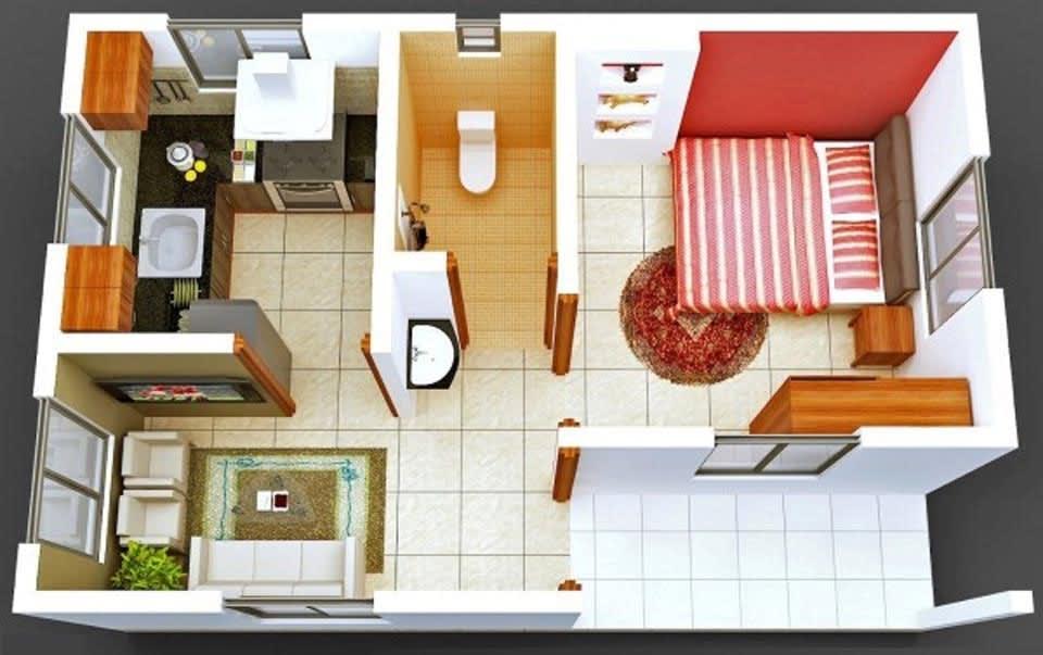 Các chú ý khi lựa chọn nội thất nhà 1 phòng ngủ