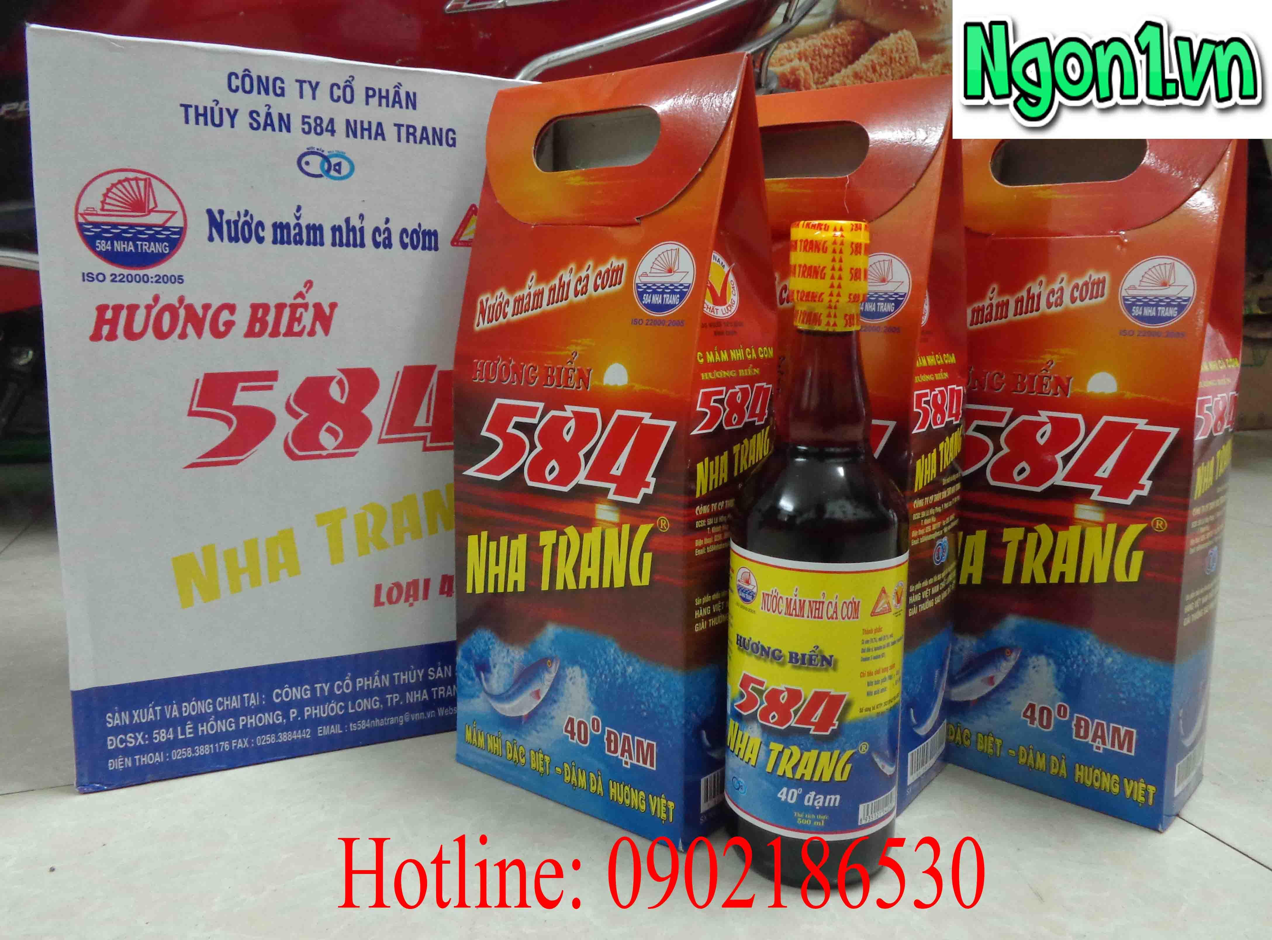 Nước mắm 584 Nha Trang 40 độ đạm (6 chai thủy tinh 500ml/thùng)