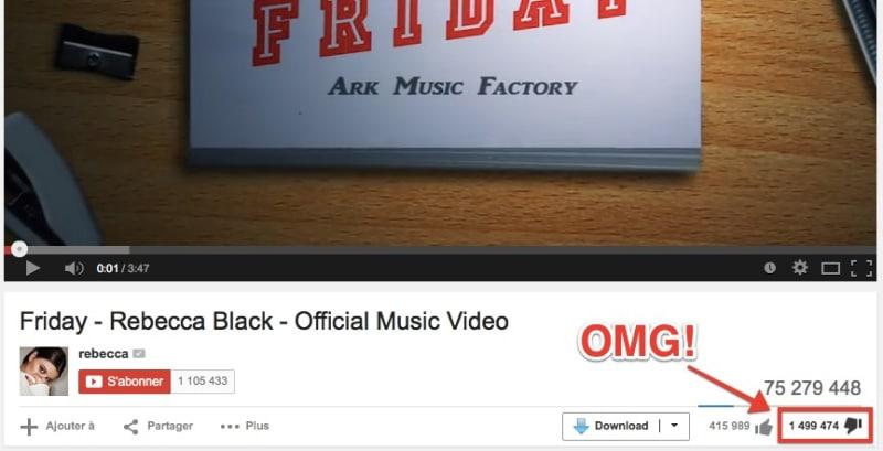 Des avis catastrophique sur Youtube pour Rebecca Black