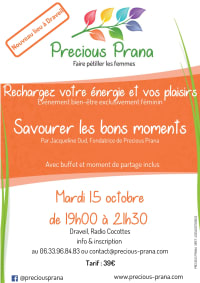 Atelier Savourer les bons moments - séance d'automne  le 15 octobre 2019, par Precious Prana