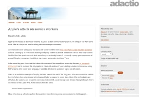 screenshot of Apple's attack on service workers