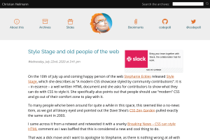 screenshot of Style Stage and old people of the web