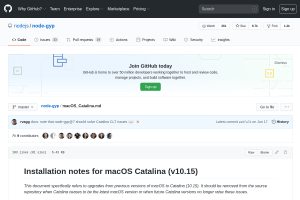 screenshot of Installation notes for [node-gyp on] macOS Catalina