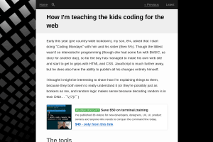 screenshot of How I'm teaching the kids coding for the web