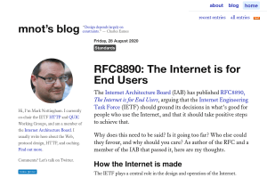 screenshot of RFC8890: The Internet is for End Users