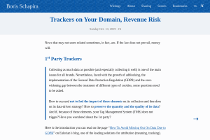 screenshot of Trackers on Your Domain, Revenue Risk