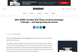 screenshot of After GDPR, The New York Times cut off ad exchanges in Europe — and kept growing ad revenue